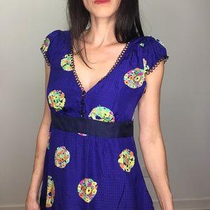 Maeve Royal Blue Purple Silk Floral Dress Size 4
